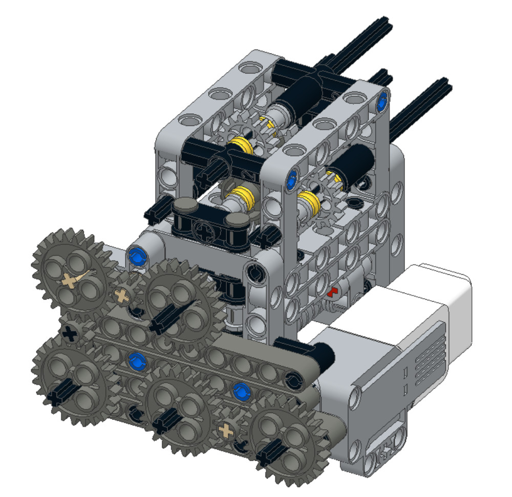 FLL Casts educational mechanism for many gears on many axles that is almost a LEGO gear box